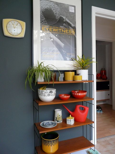 Farrow and Ball Downpipe looks great with reds and yellows