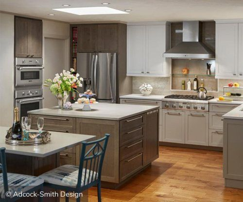 Two Toned Kitchen Cabinets Using Earthy Tones Is An Excellent
