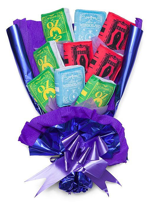 A great gift for bibliophiles, this Plush Book Bouquet looks great in a reading nook or on a bookshelf. An arrangement of nine novels, it includes literary canon favorites Alice in Wonderland , Sherlock Holmes , and Dracula .