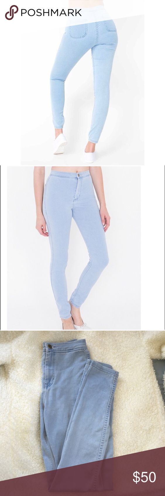 American Apparel Easy Jeans Size Small . I ALSO HAVE A LARGE, I can sell either or. Same color as small. Fits a 26-27. Most selling item at AA . Stretchy high waisted pants in the color or medium stone wash indigo. Has a great fit, and it's SO cute, I just didn't wear it much because Its rare when I wear high waist jeans. Offers accepted through the offer button only:) American Apparel Jeans Skinny