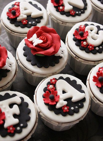 Black, Red and White Cupcakes