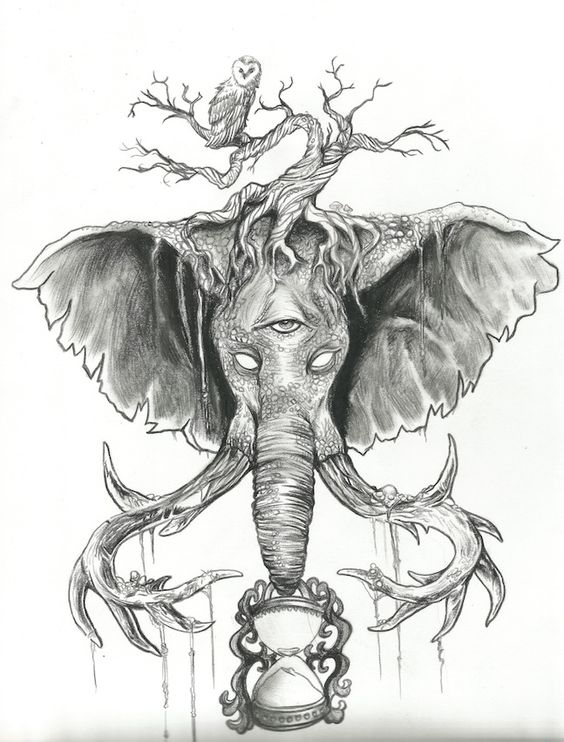 Holders of Time, Pencil Drawing for Elephant Tattoo ...