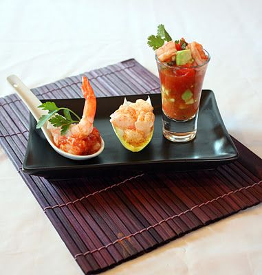 Modern prawn cocktail trio