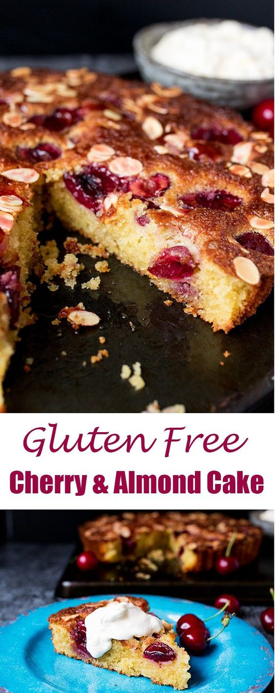 A fluffy Gluten Free Cherry and Almond Cake with fresh cherries and dollops of jam. So tasty!