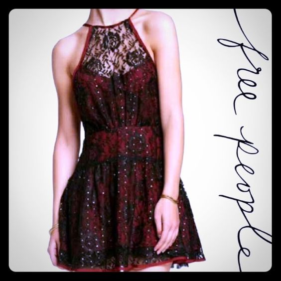 Free People Wish Upon A Star Dress Very sexy and flattering burgundy and black lace dress with gold flecks. Truly s beautiful dress that looks even better on. Free People Dresses Midi