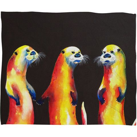 Clara Nilles Flaming Otters Fleece Throw Blanket