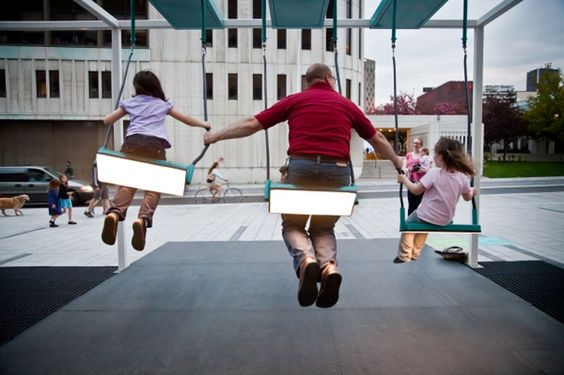 This musical swing installation in Montreal is recreated everyday as people experiment with the interactive swings that produce different music depending on how people swing together. An opportunity for spontaneous cooperation, play and laughter...a new way to experience the city at all times and with all ages.