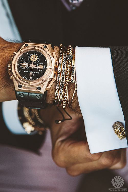 #watches #cufflinks #refinedbadass Love the skull cufflinks...and the bracelets. My kind of sexy.: