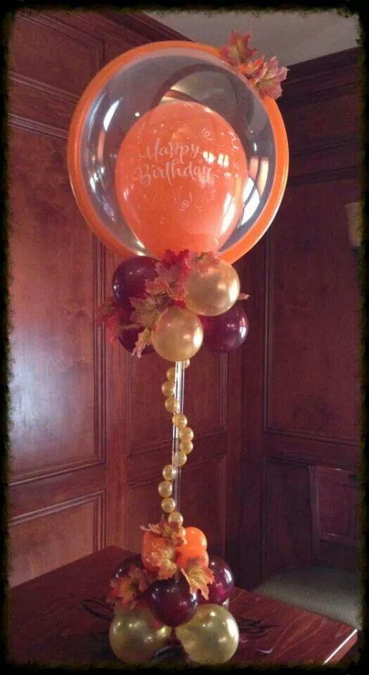 Birthday balloon column with 3' round topper