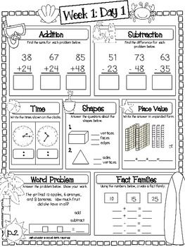 Printables 2nd Grade Math Review Worksheets language summer and math on pinterest review packet 10 weeks of arts printables that cover the ccss for grade free example sheets included in preview