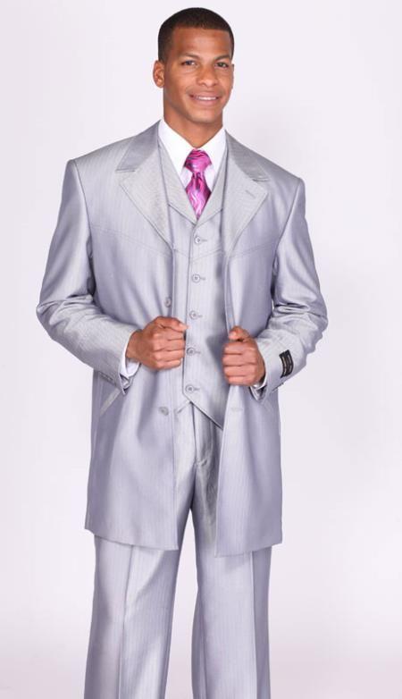SKU#FR7903 Mens Shiny Silver Sharkskin Vested Church Suits