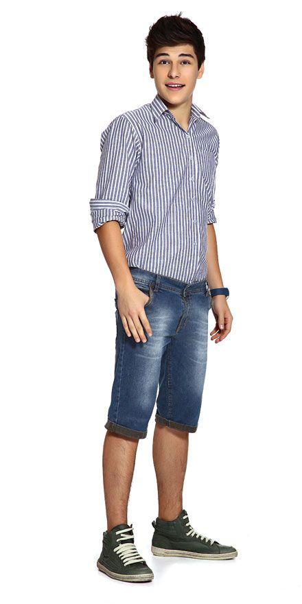 M2A Jeans   Spring Summer 2014   Teen Boy Lookbook   Pimavera Verão 2014 • bermuda; jeans; camisa.