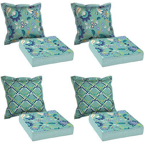 Better Homes & Garden 8-Piece Cushion Set, Aqua: Patio & Outdoor Decor - Gardens, Home And Cushions On Pinterest