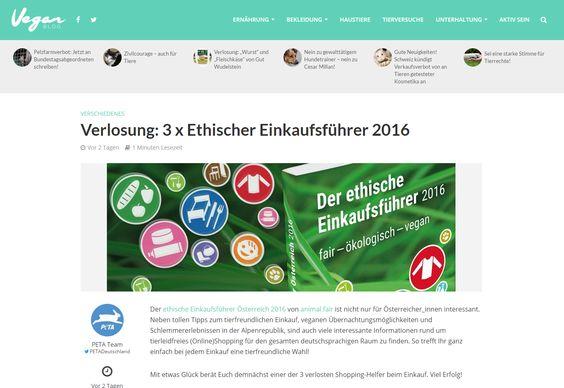 """Gewinnt 3 Mal """"Der ethische Einkaufsführer 2016""""! Auf VeganBlogkönnt ihr noch bis 17. März 2016drei Mal..."""