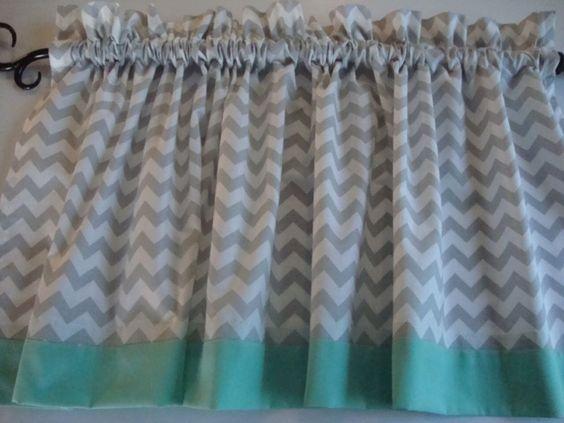 Gray and White Chevron Valance with Mint Border or choose own color of border…