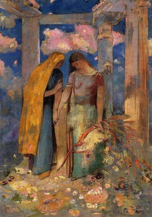 Odilon Redon1896-mystical-conversation: