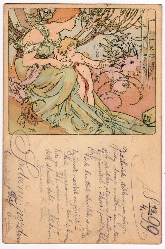 MUCHA Les Ages De La Vie Vintage Art Nouveau Postcard