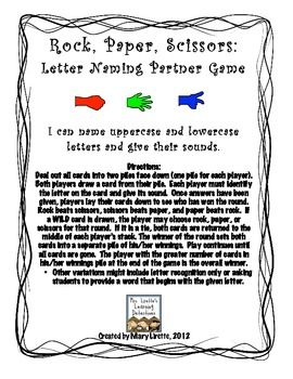 Rock, Paper, Scissors: Letter Naming & Sounds {FREE}
