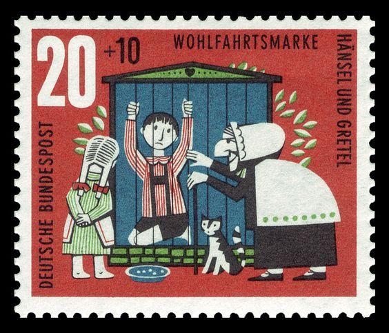 Art - Stamp Art - German - Brothers Grimm, Hänsel_und_Gretel , witch captures Hansel   Flickr - Photo Sharing!