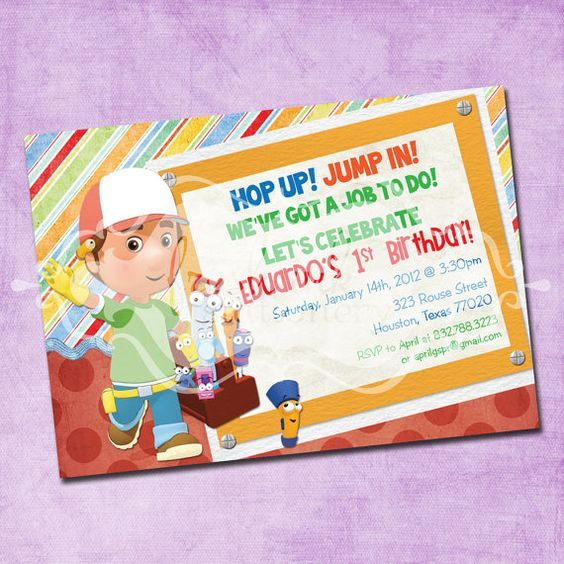 Handy Manny Birthday Party Invitation – Handy Manny Party Invitations