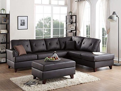 3pcs Modern Brown L Shaped Reversible Sectional Sofa Chaise