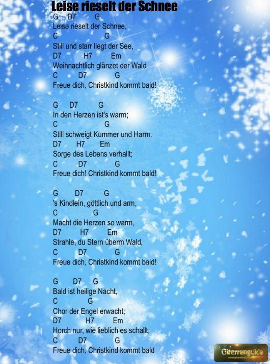 Weihnachtslieder Gitarrengriffe Akkorde Fur Weihnachten Leise Rieselt Der Schnee Gitarre Lieder Gitarren Akkorde