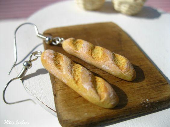 French Baguette Earrings  food earrings  by Minibonbons on Etsy, €11.00