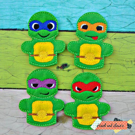 ninja turtle finger puppet play set felt toys by Hazelandlouies