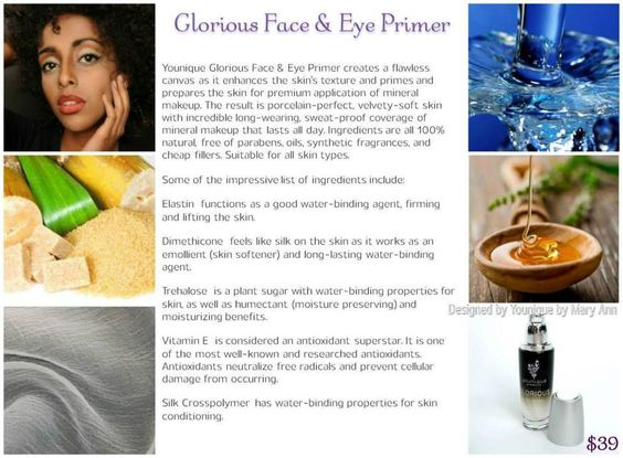 Primer ingredients. Make your makeup stay, all day, the Younique natural way!!!