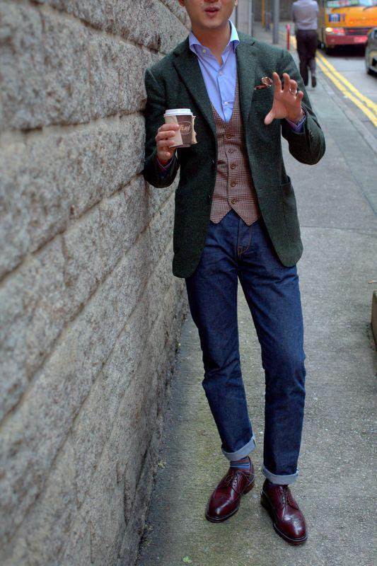 Ring Jacket Tweed Jacket in Green Donegal Ring Jacket Tweed Vest