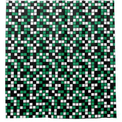 Shamrock Green Black White Random Mosaic Squares Shower Curtain