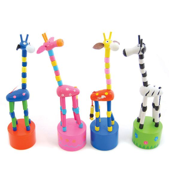 New 4 Traditional Push up toy Giraffe