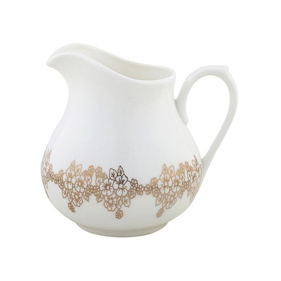 Nimerology Sunehra Cream Jug - Gold (93 CAD) ❤ liked on Polyvore featuring home, kitchen & dining, serveware, metallic, white creamer, almond creamer, cream pitcher, gold tableware and white serveware