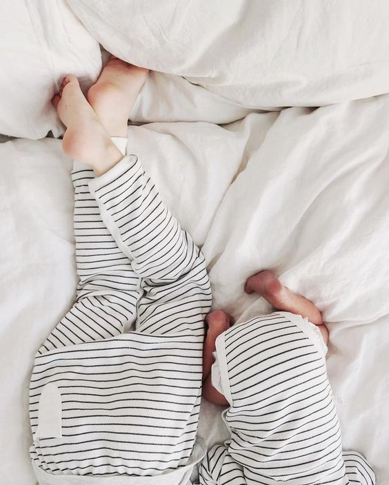Siblings in stripes. This would be an adorable matching set for winter!