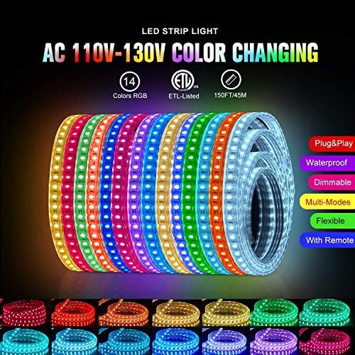 Best Seller Shine Decor Dimmable Led Strip Lights 150ft 110v 120v Rgb Color Changing Led Light Strip Cuttable Rope Lights With Remote Controller Ip65 Waterpro In 2020 Led Strip Lighting Strip Lighting Color