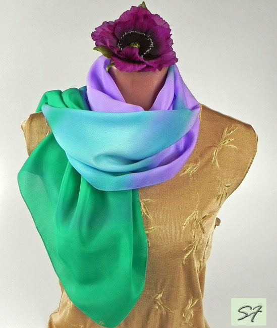 Hand Painted Silk Scarf, Purple Green Silk Scarf, Scarf Shawl Unique Scarves, Design Scarves, Batik Scarf, Wrap, Long, Large, Idea Gifts by SilkFantazi on Etsy