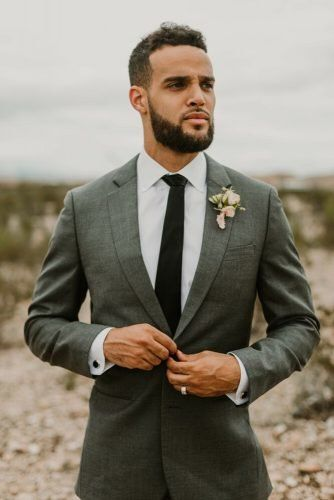 The Most Popular Groom Suits ★ groom suits grey jacket with tie boutonniere seila stone