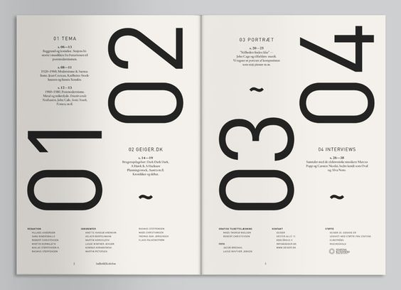 Following on from your large type contents page - another example of heavy numbers mixed with delicate smaller type.