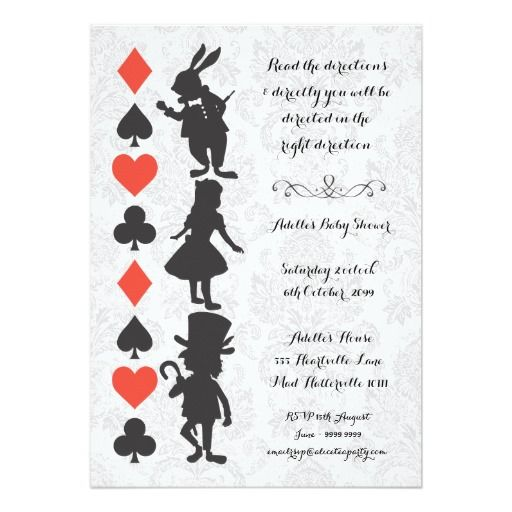 Alice in Wonderland Damask Baby Shower Invite Invites