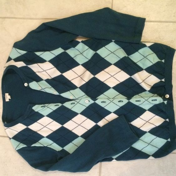 J. Crew argyle sweater J. Crew argyle button up sweater. 3/4 length sleeves. Pretty teal color. J. Crew Sweaters Cardigans