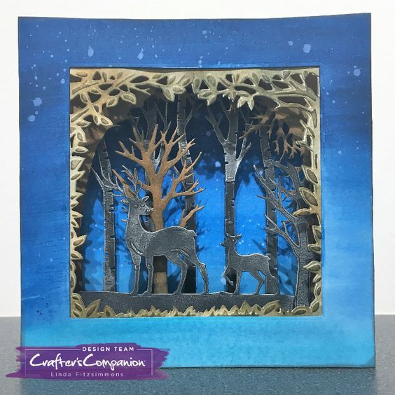 Dimensional Card made using Crafter's Companion Gemini Christmas Build-a-Scene die - Winter Time. Designed by Linda Fitzsimmons. #crafterscompanion #ccgemini #christmas