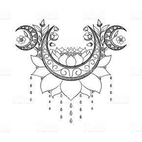 Vector Hand Drawn Tattoo Design Crescent Moon Lotus And Flowers