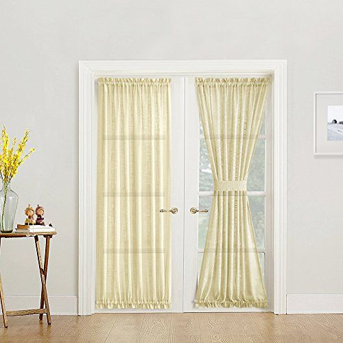 French Door Curtain Panel Linen Look 72 Inch Sheer Curtain Ivory