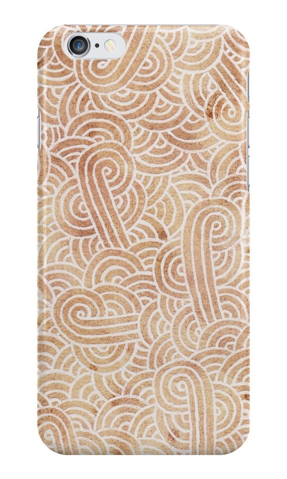 """Iced coffee and white zentangles"" iPhone Cases & Skins by Savousepate on Redbubble #iphonecase #phonecase #iphoneskin #phoneskin #abstract #zentangles #doodles #scrolls #spirals #brown #chocolate #icedcoffee #pantonecolors2016"