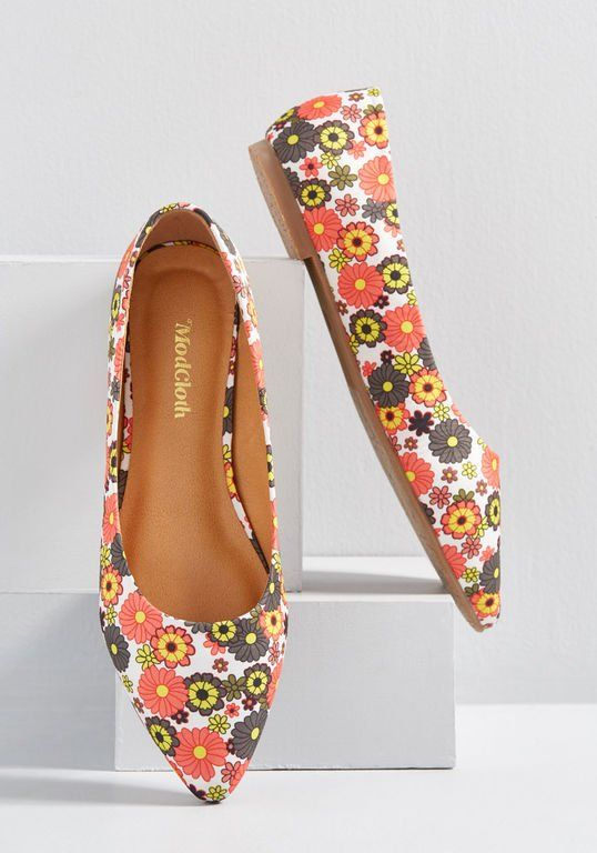 Women shoes, Floral flats