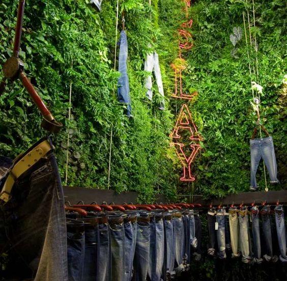 Mur v g tal int rieur en 80 id es pour la maison cologique jeans interieu - Humidite sur un mur interieur ...