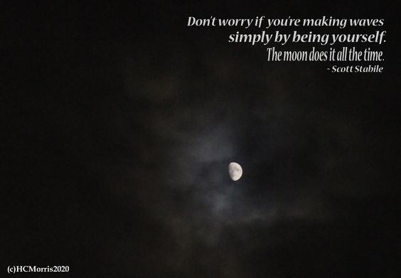 a bright moon with a quote by Scott Stabile