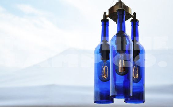 Recycled Blue Wine Bottle Chandelier by MoonshineLamp on Etsy