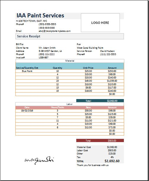 Business account receipt template at receipts-templates - payroll receipt