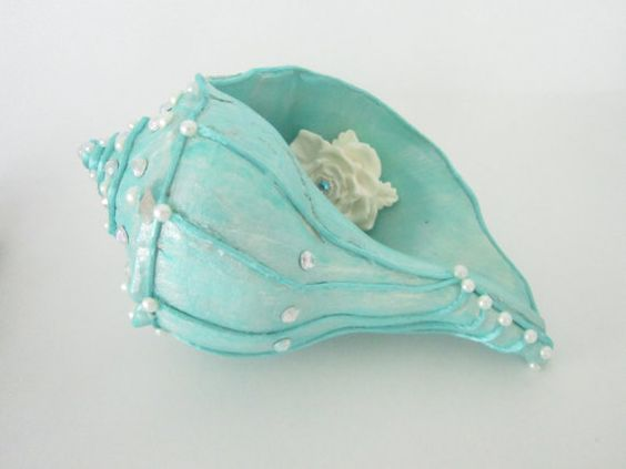 Hand Painted Conch Shell aqua with pearls cording by ginalimosaics, $45.00